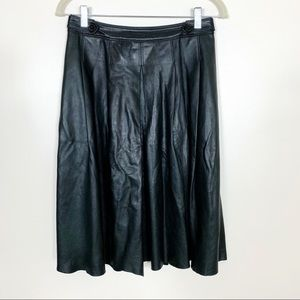 Burberry Lambskin Pleated Black Knee Length Skirt